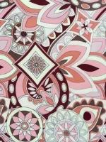 """Искусственный шелк """"Узоры в стиле Pucci"""" розово-бордовый"""