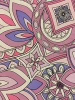 """Искусственный шелк """"Узоры в стиле Pucci"""" розово-сиреневый"""