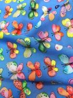 "Штапель ""Коллекция бабочки"" голубой"
