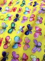 """Штапель """"Коллекция бабочки"""" желтый"""