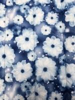 """Стежка курточная """"Зимние цветы"""" на синем фоне"""