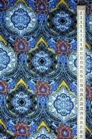 """Трикотаж """"Восточный орнамент"""" синий"""