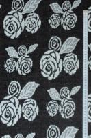"""Трикотаж вязанный """"Зимние розы"""" черный"""