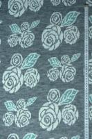 """Трикотаж вязанный """"Зимние розы"""" серый"""