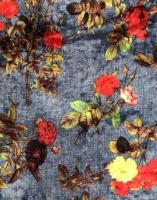 """Бархат - стрейч """"Цветы на фоне синей джинсы"""""""