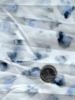 Ткань курточная ЛЕОПАРДОВЫЕ ПЯТНЫШКИ серо-голубые на молочном