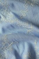 """Поплин с вышивкой """"Сине - белая полоска с вышивкой"""""""