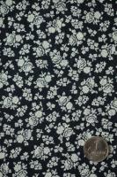 """Штапель """"Мелкий цветочек"""" черный"""