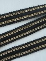 Тесьма ТД-0030 с 2 золотистыми цепочками