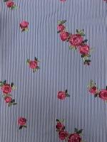 """Ткань """"Полоска с вышитыми цветами"""""""