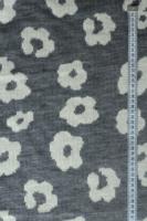 """Трикотаж вязанный двухслойный """"Цветы в стиле Prada"""" серый"""