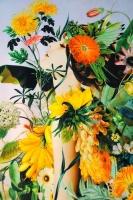 """Трикотаж (джерси) """"Весна в цветах"""" нежный голубой"""